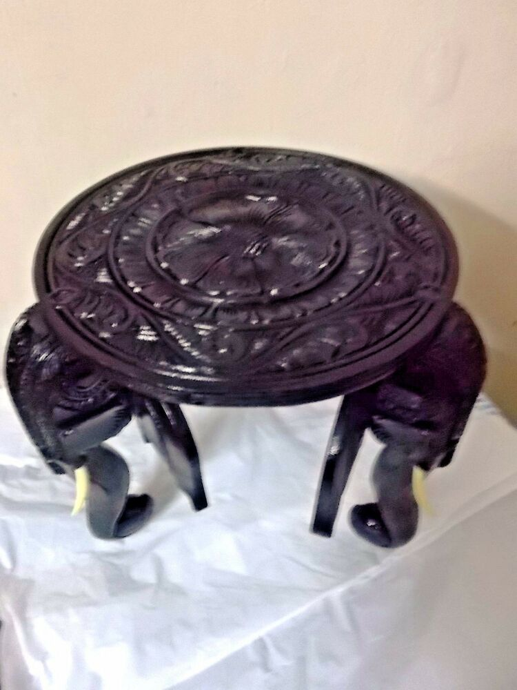 12 Quot Wooden Round Table Elephant Floral Carved Decorative