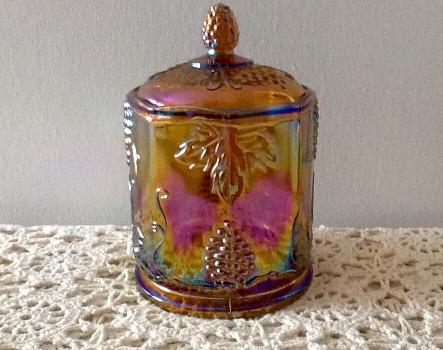 indiana glass co carnival glass candy jar with lid 1970 39 s amber ebay. Black Bedroom Furniture Sets. Home Design Ideas