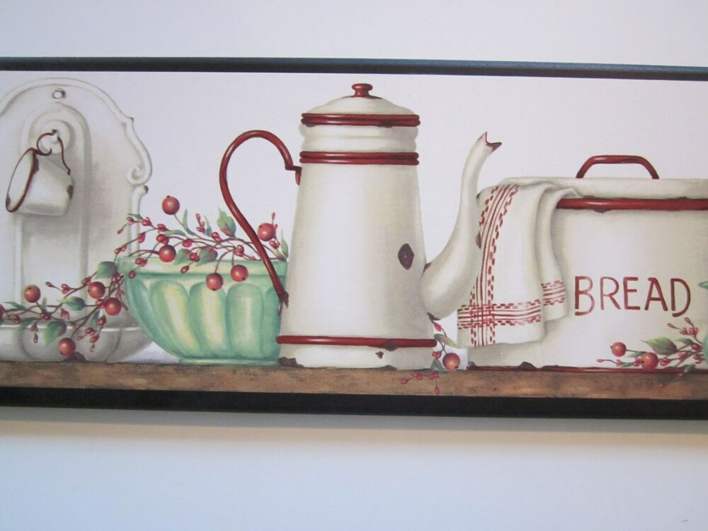 Country kitchen wall decor plaque red white antique for White kitchen wall decor