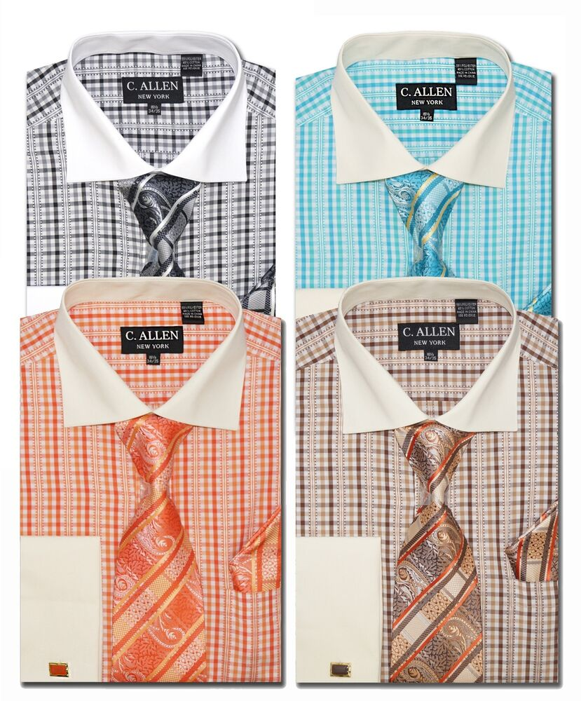 C Allen Mens Dress Shirts Tie Combo French Cuff Checked