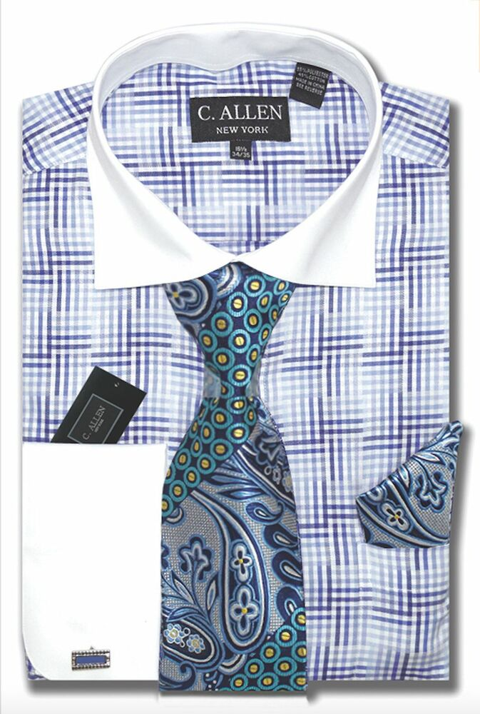 C allen mens dress shirt tie hanky combo french cuff for Dress shirts and tie combos sale