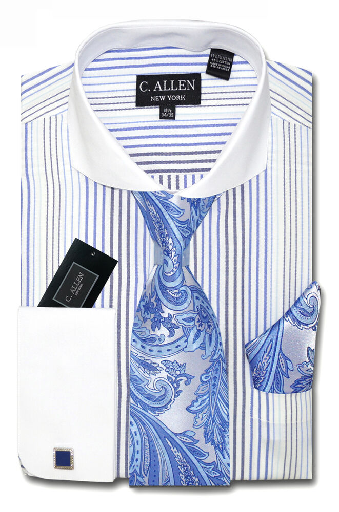 C allen mens dress shirt tie hanky combo french cuff for Mens dress shirts and ties combinations