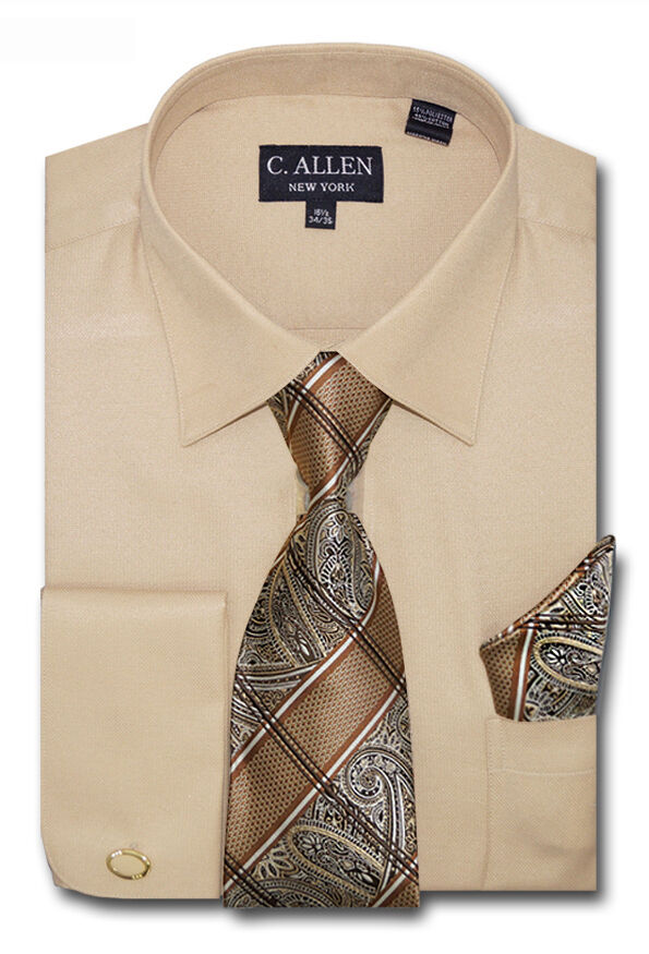 C allen mens dress shirts tie hanky combo french cuff for Dress shirts and tie combos sale