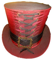Steampunk madhatter Hand made  Red Taffeta Top Hat