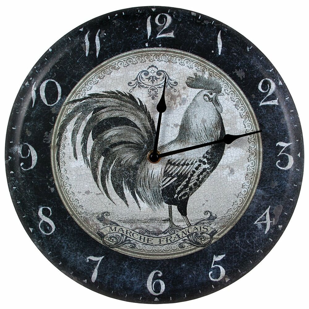 French Country Rooster Metal Wall Clock rustic vintage ...