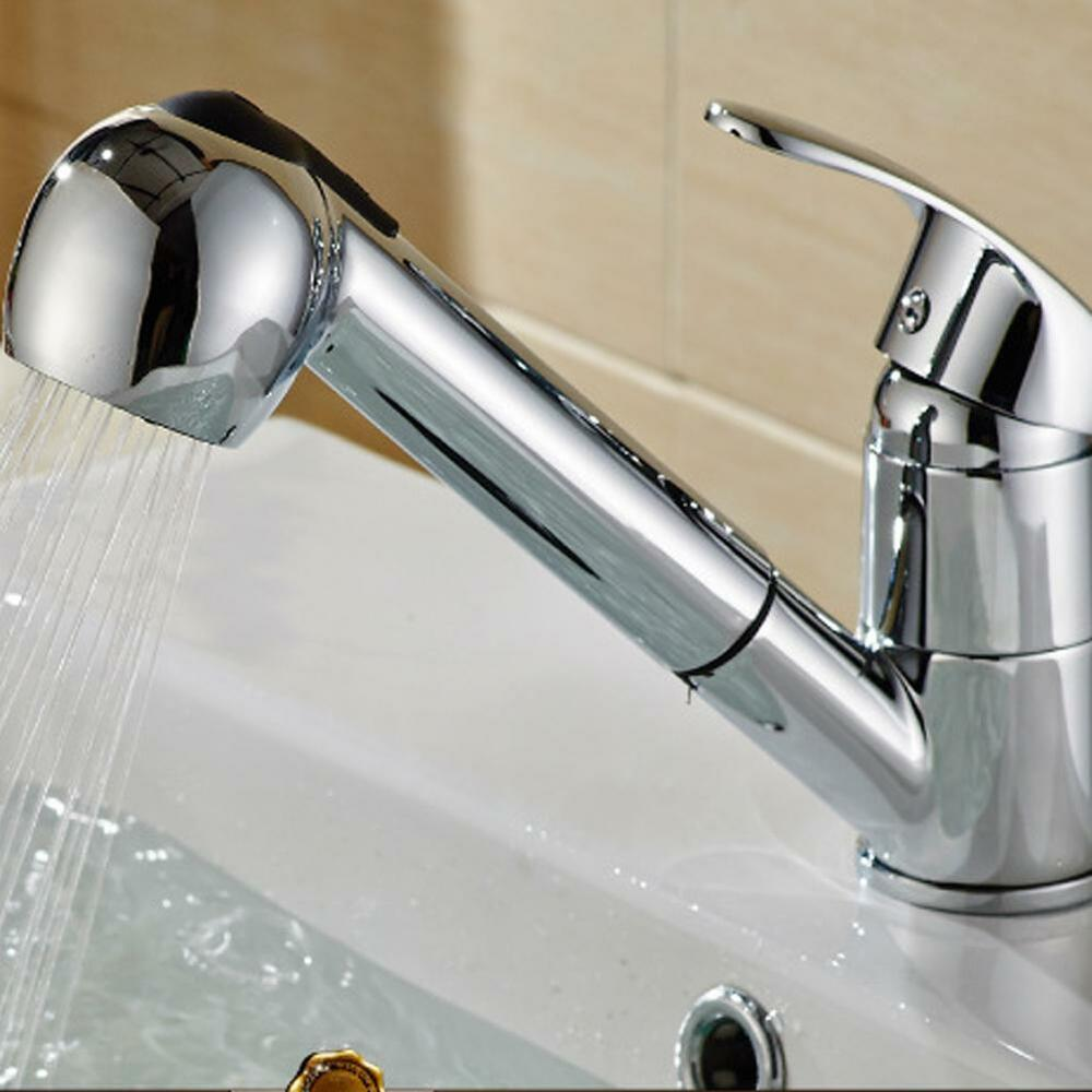 Shower Kitchen Sink Faucet Chrome Pull Out Spray Swivel Spout Dispenser EBay