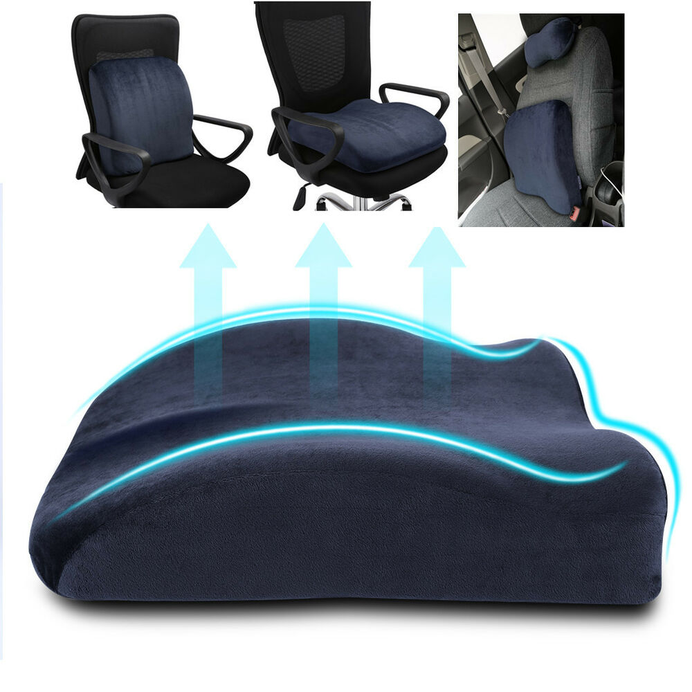 Lumbar Cushion Back Support Travel Pillow Memory Foam Car Seat Home Office Ch
