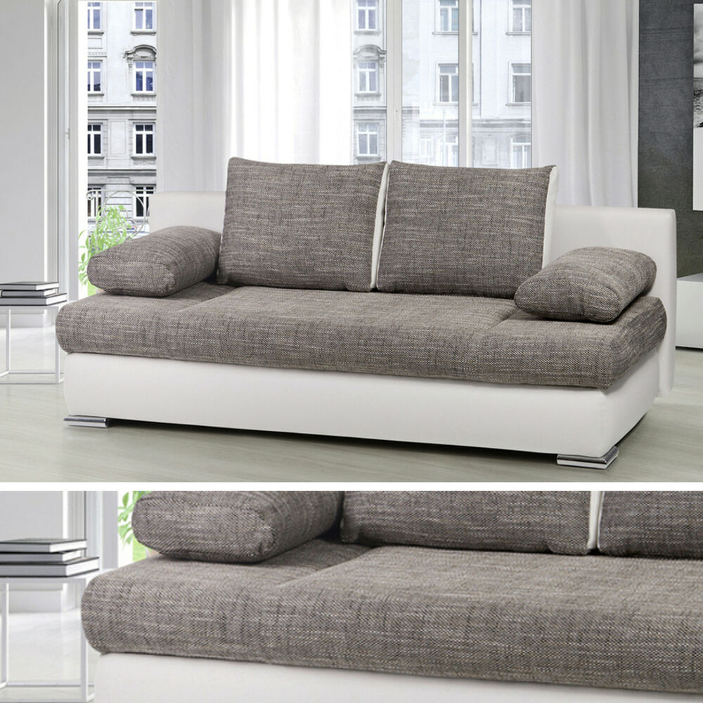 design schlafsofa orlando federkern mit bettkasten schlafcouch sofa couch grau ebay. Black Bedroom Furniture Sets. Home Design Ideas