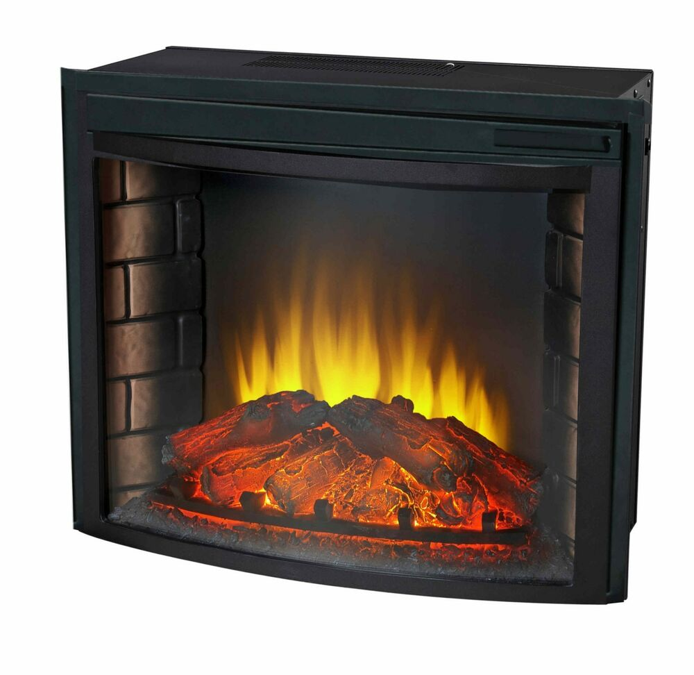 24 curved electric fireplace insert firebox with heater chimney
