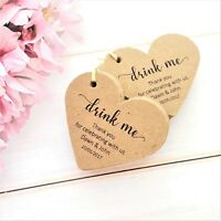 Personalised Heart Wedding/Party Favour Tags Drink Me, Ivory Cream White Kraft
