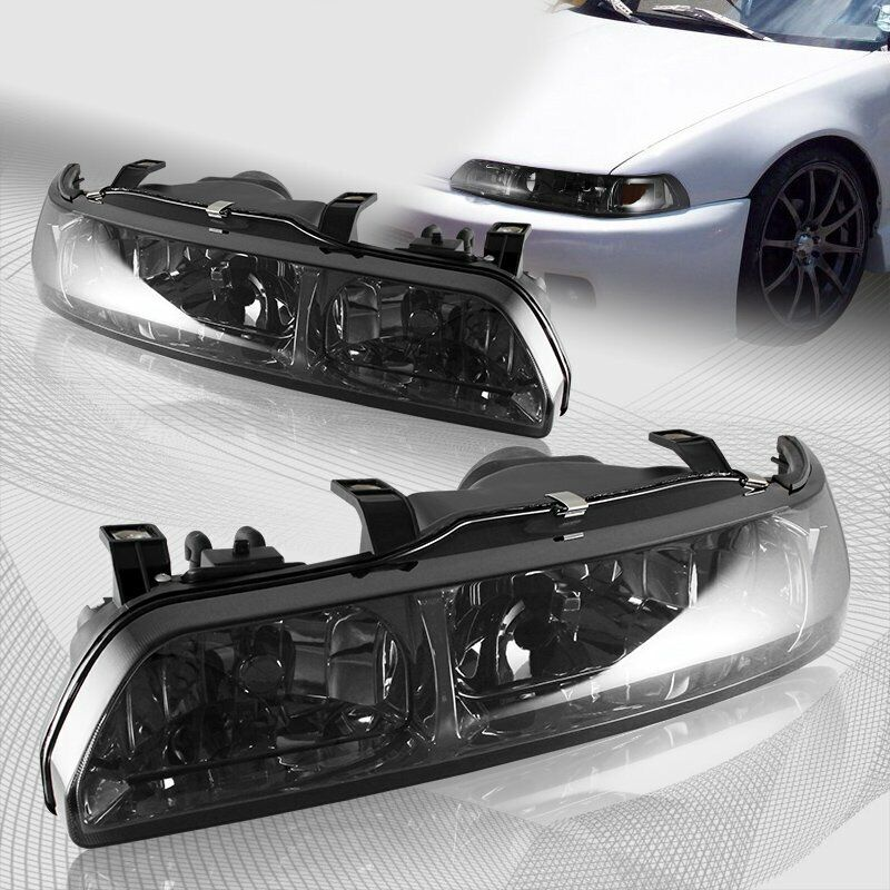Acura Integra Headlights: For 1990-1993 Acura Integra JDM Smoke Lens 1-Piece