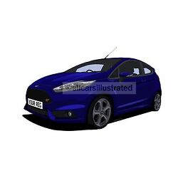 FORD FIESTA ST MK7 (FACELIFT) CAR ART PRINT (SIZE A3). PERSONALISE IT!
