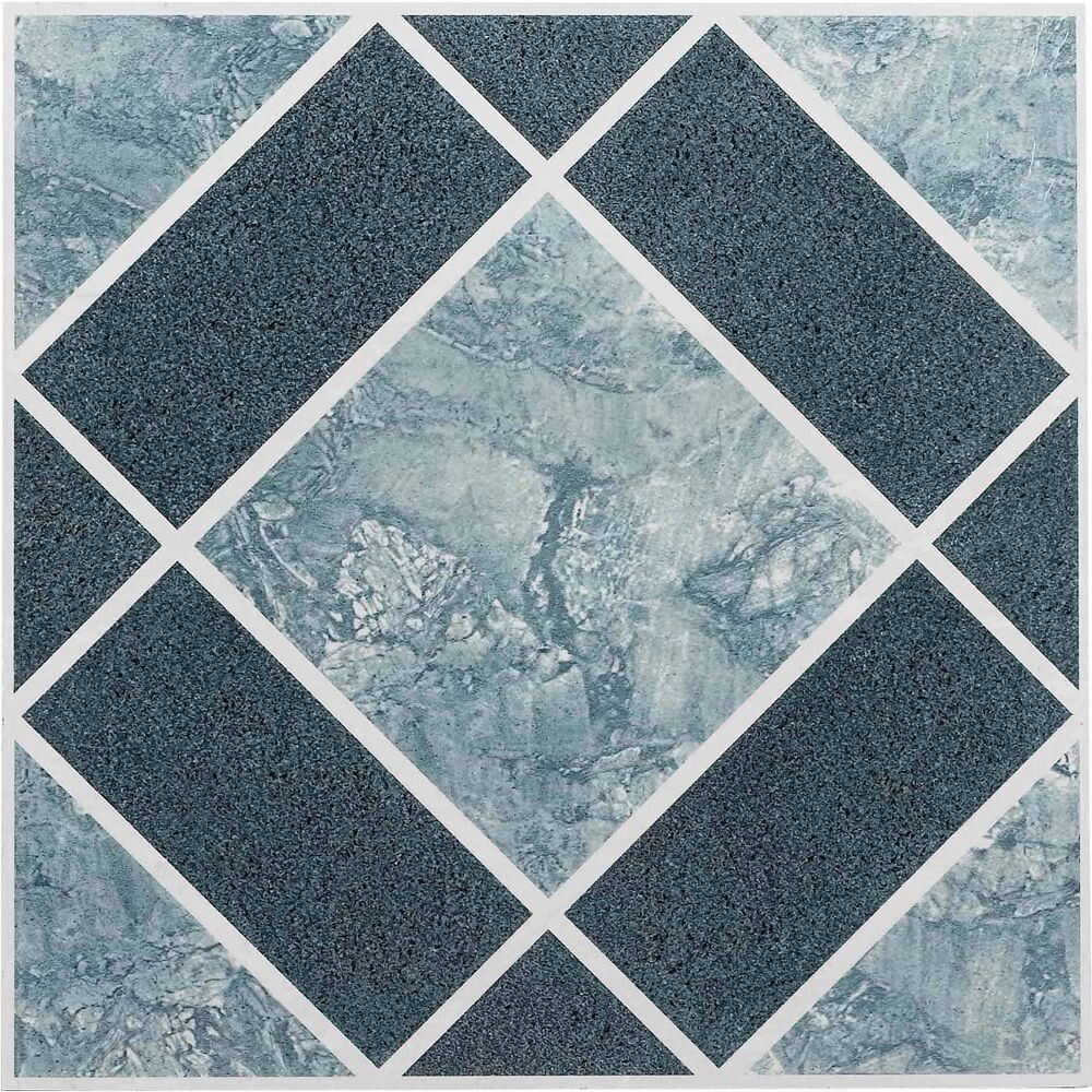 Vinyl Floor Tiles Self Adhesive Peel And Stick Blue Best Bathroom Flooring 12x12 Ebay