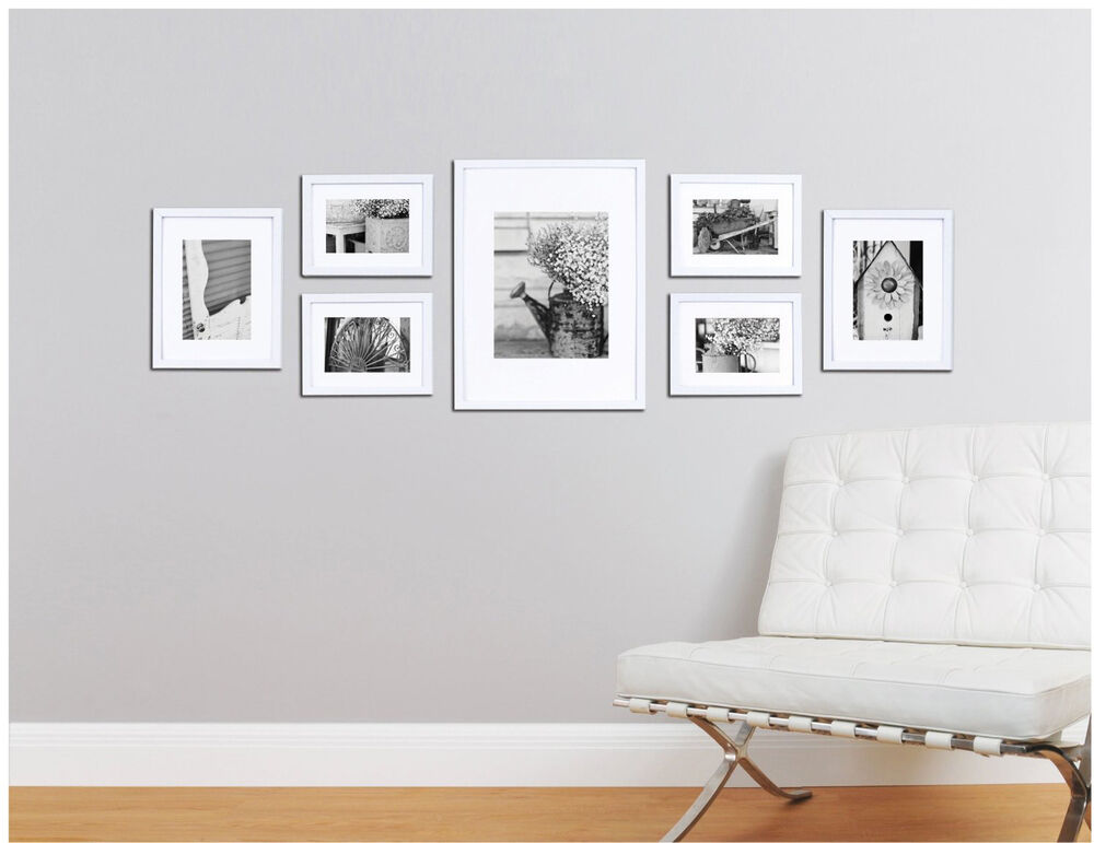 Picture Frame Set For Wall 7 Piece Wood Kit Hanging Photo