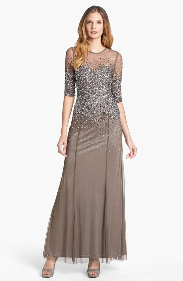 ADRIANNA PAPELL BEADED ILLUSIONS BODICE MESH LEAD COLOR GOWN DRESS ...