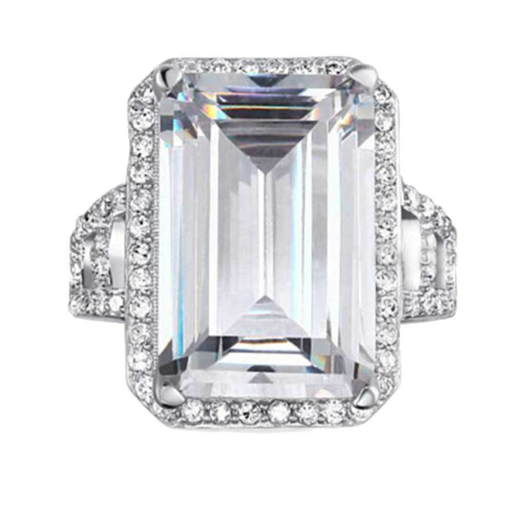 sterling silver emerald cut cz halo women jewelry wedding. Black Bedroom Furniture Sets. Home Design Ideas