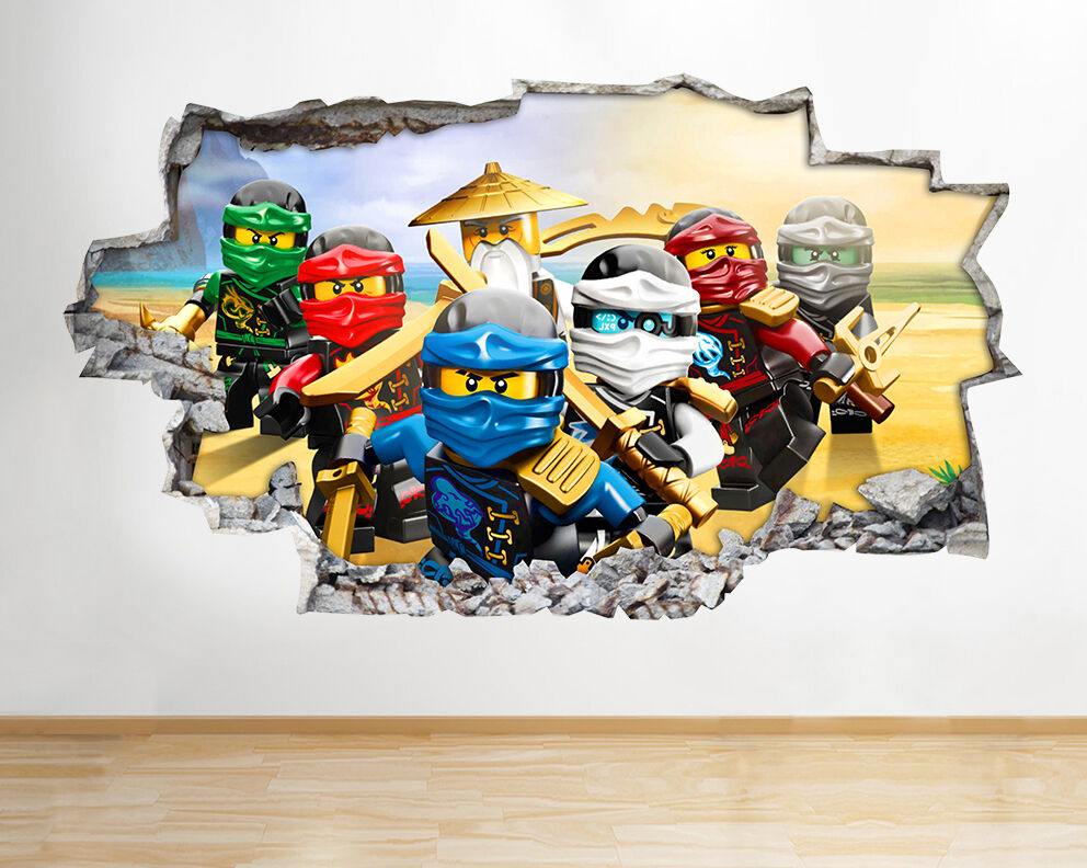 H986 lego ninjago toys tv kids smashed wall decal 3d art for Stickers 3d pared