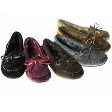 New Womens Moccasins Cushy Faux Fur Slip On Indoor Outdoor Slipper Shoes Sz 5-10