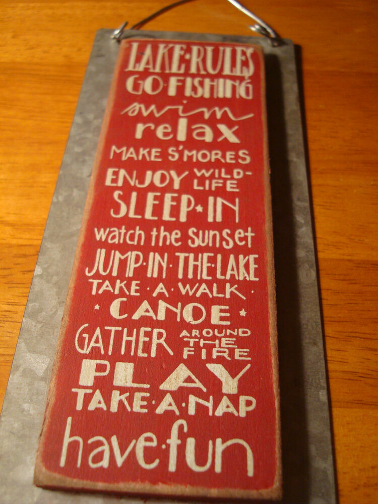 Lake rules go fishing canoe rustic lodge metal wood for What are the rules for go fish