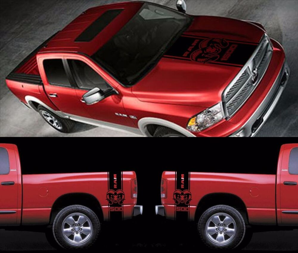 dodge ram 1500 2500 hemi hood fender decal high quality vinyl stickers logo ebay. Black Bedroom Furniture Sets. Home Design Ideas