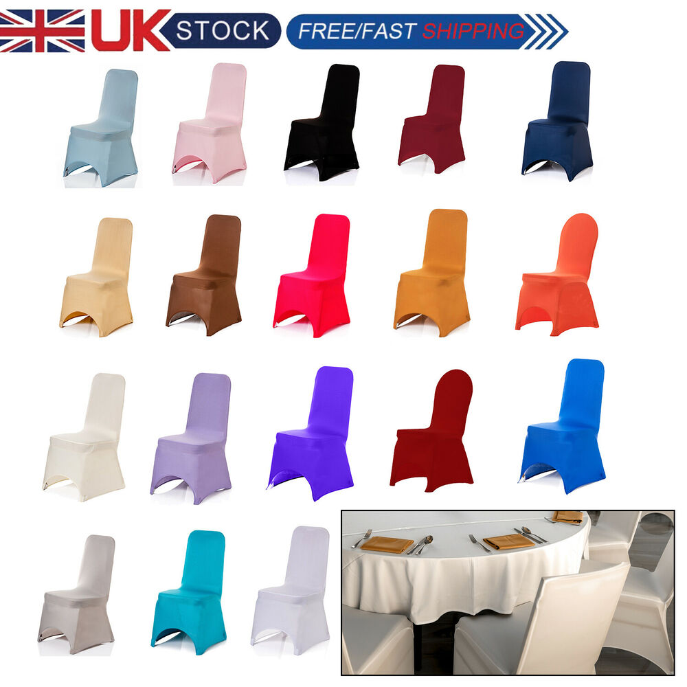 Spandex Rosette Chair Covers Lycra Satin Wedding Party