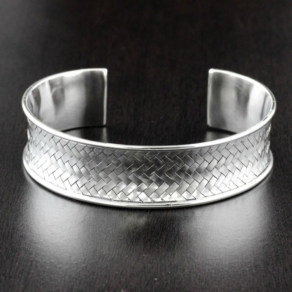 Cuff Bangle Bracelet: Womens 925 Sterling Silver Mesh Heavy Cuff Bangle Bracelet