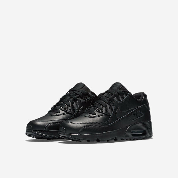the latest e8e90 8f0a0 Details about 833412-001 Big Kids Nike Air Max 90 (GS) Black Black Leather  Sizes 4.5-7 NIB