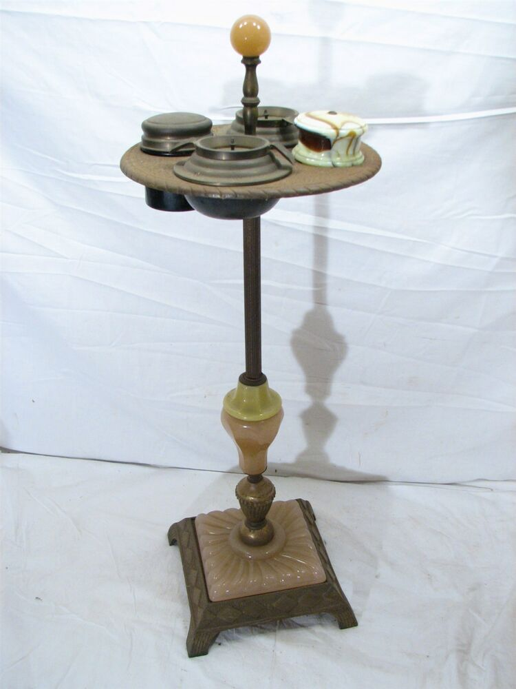 Cast Iron Art Deco Slag Glass Smoking Floor Stand W