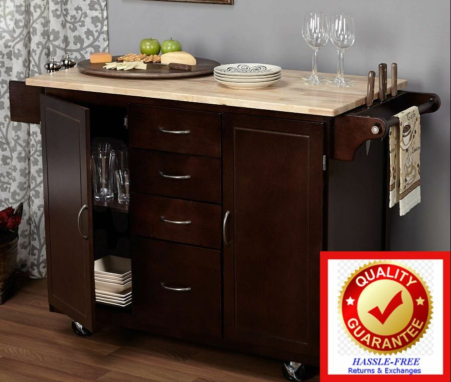 kitchen island table rolling cart storage cabinet wood top ms charity cookbook ebay. Black Bedroom Furniture Sets. Home Design Ideas