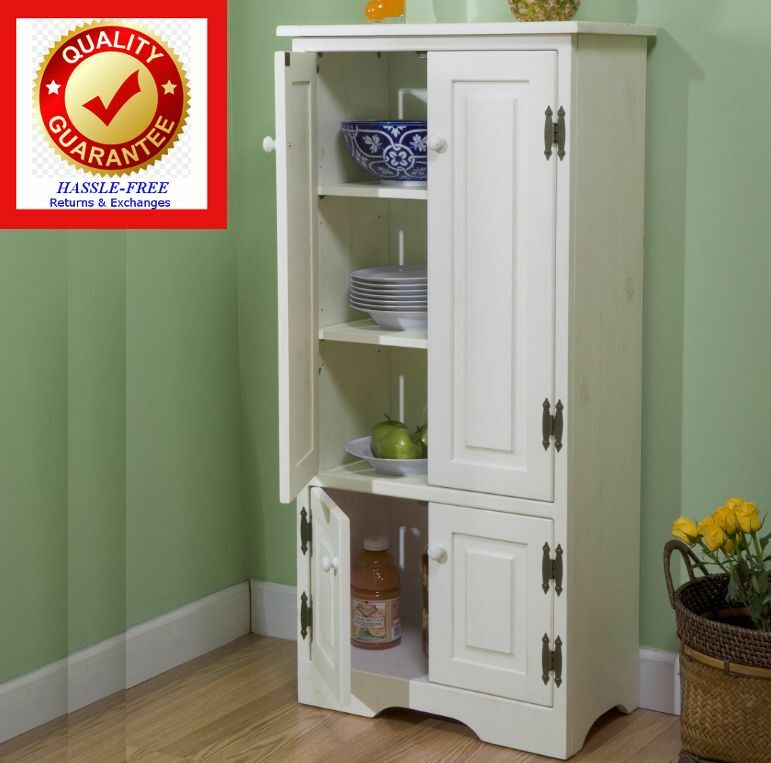 Kitchen Pantry Storage Cupboard Cabinet Food Storage Organizer White Ebay