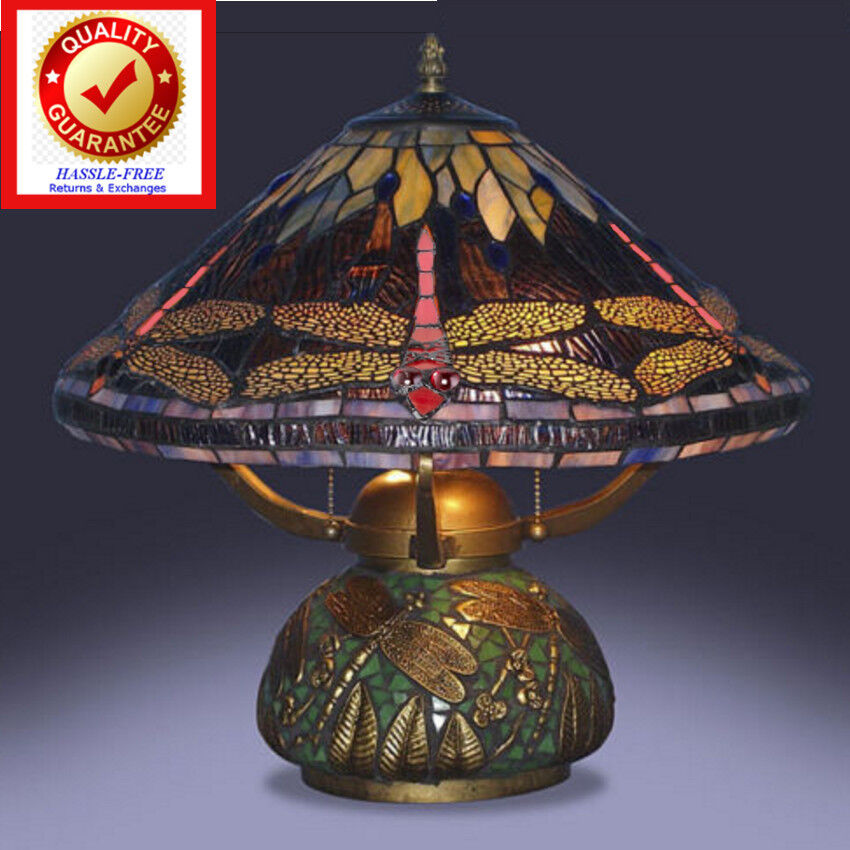Tiffany Style Dragonfly Lamp Cut Stained Glass Reading