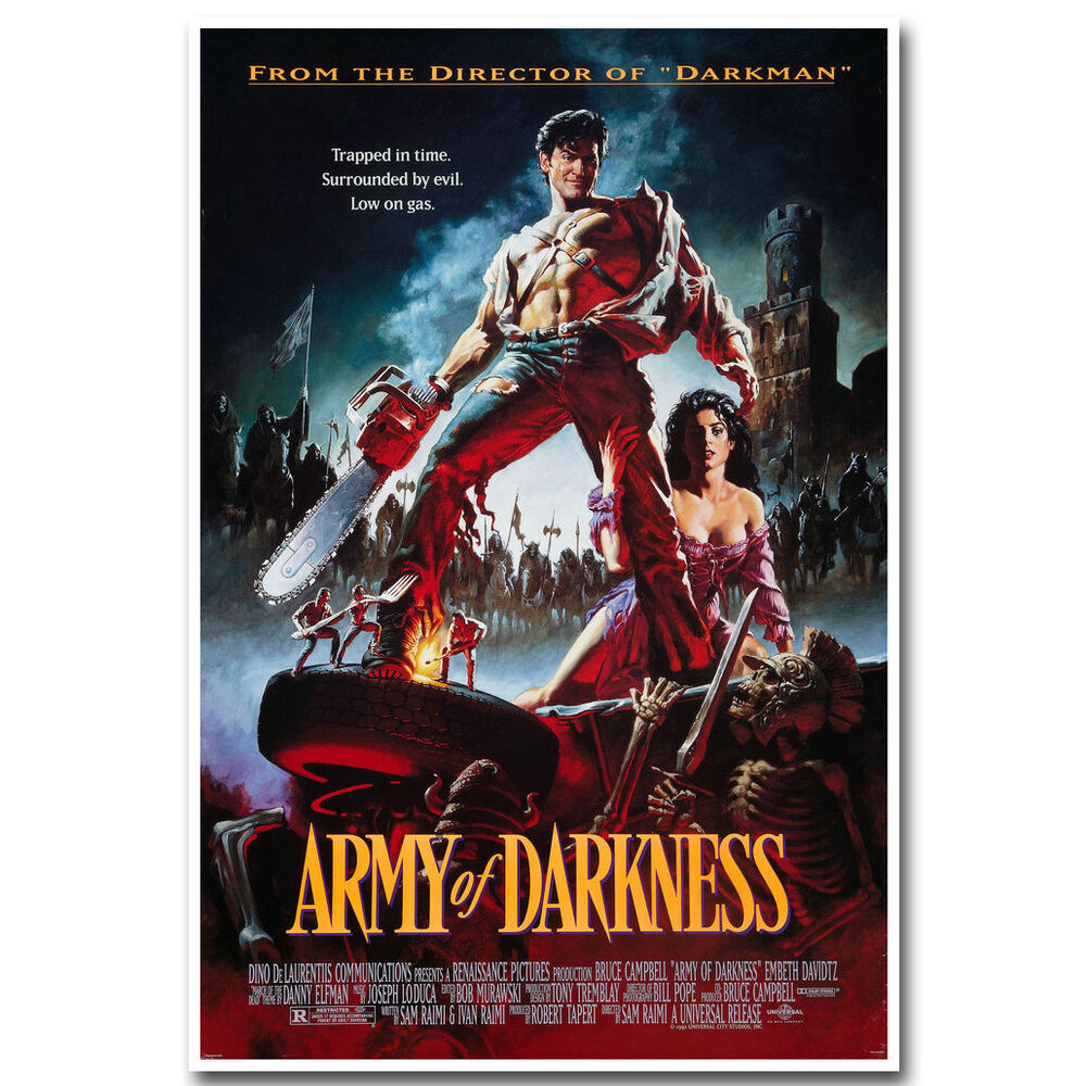 army of darkness movie poster 12x18 24x36 inch silk fabric