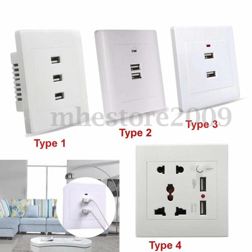 New Usb Wall Socket Charger Ac Dc Home Power Adapter Plug