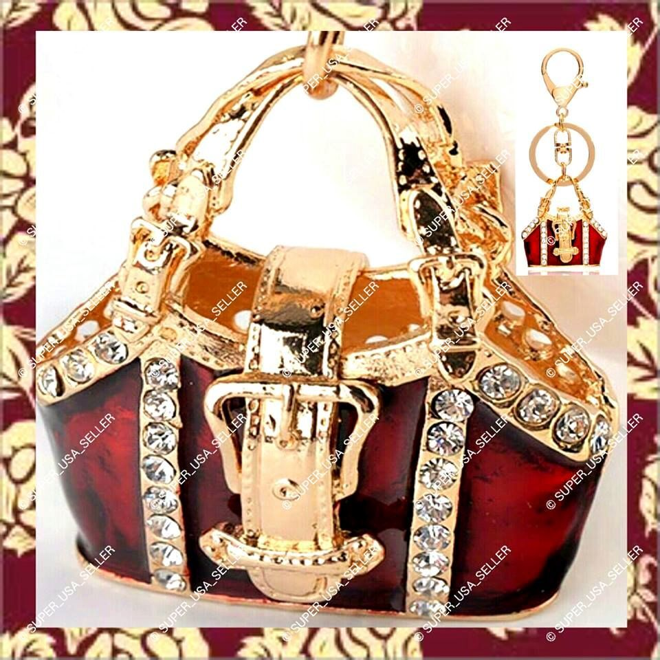 red ruby crystal purse charm rhinestone bling fashion keychain accessory usa lot ebay. Black Bedroom Furniture Sets. Home Design Ideas