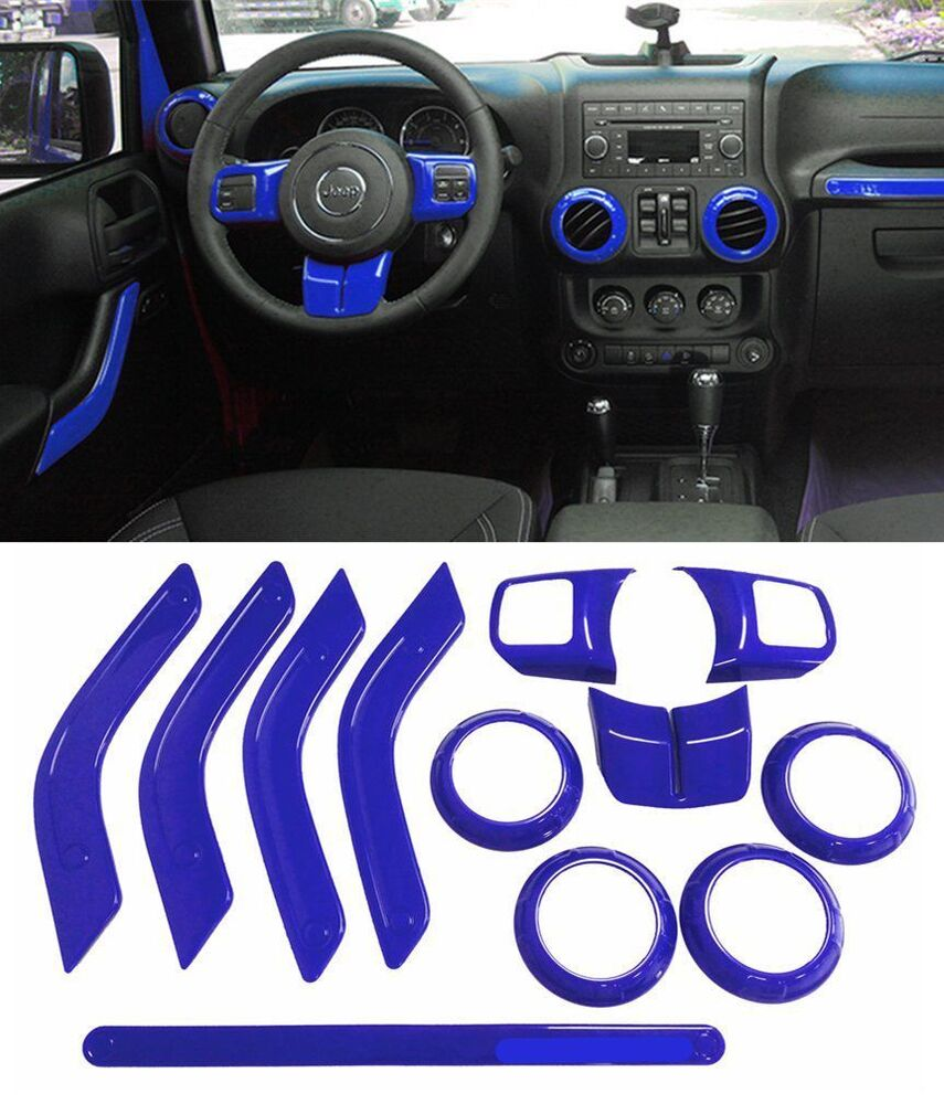 Blue 12pcs Interior Car Accessories Decoration Trim For Jeep Wrangler 4 Door B Ebay