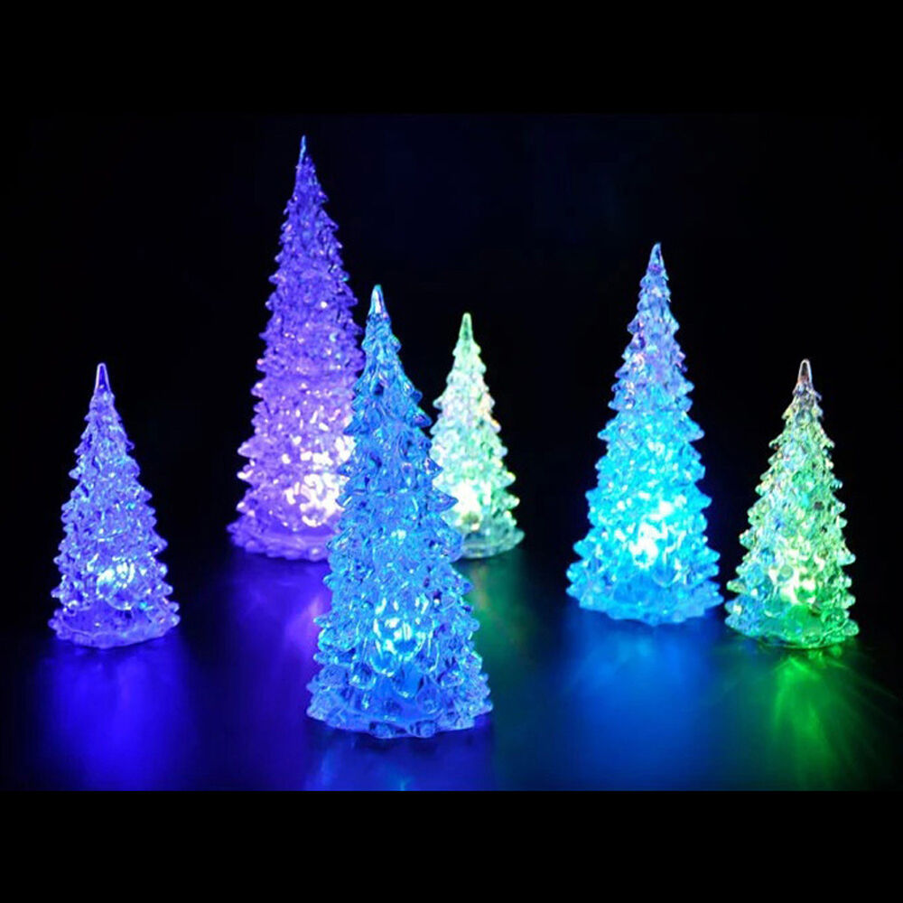 Led Crystal Color Changing Mini Christmas Tree Night Light
