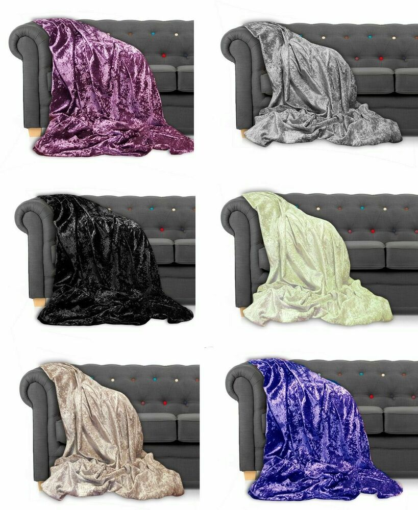 Throw Over Bedspread Crushed Velvet New Sofa Or Bed Throw Or Cushion Cover