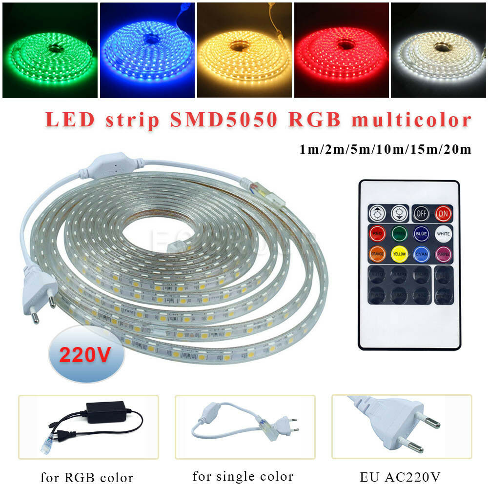 1 20m waterproof smd 5050 led strip 220v 60led m flexible tape rope light plug ebay. Black Bedroom Furniture Sets. Home Design Ideas