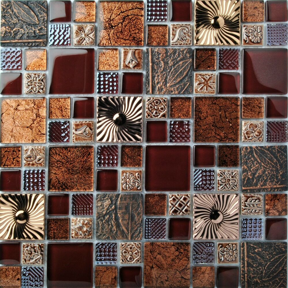 Sample Black Metallic Deco Insert Crackle Glass Mosaic: Red Wine Glass Leaf Fossil Resin Carving Wall Backsplash
