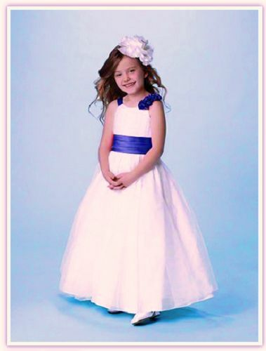 1577c0c0b80 ALFRED ANGELO  160 6654 4T FLOWER GIRL MINI-BRIDESMAID DRESS IVORY COBALT  BLUE