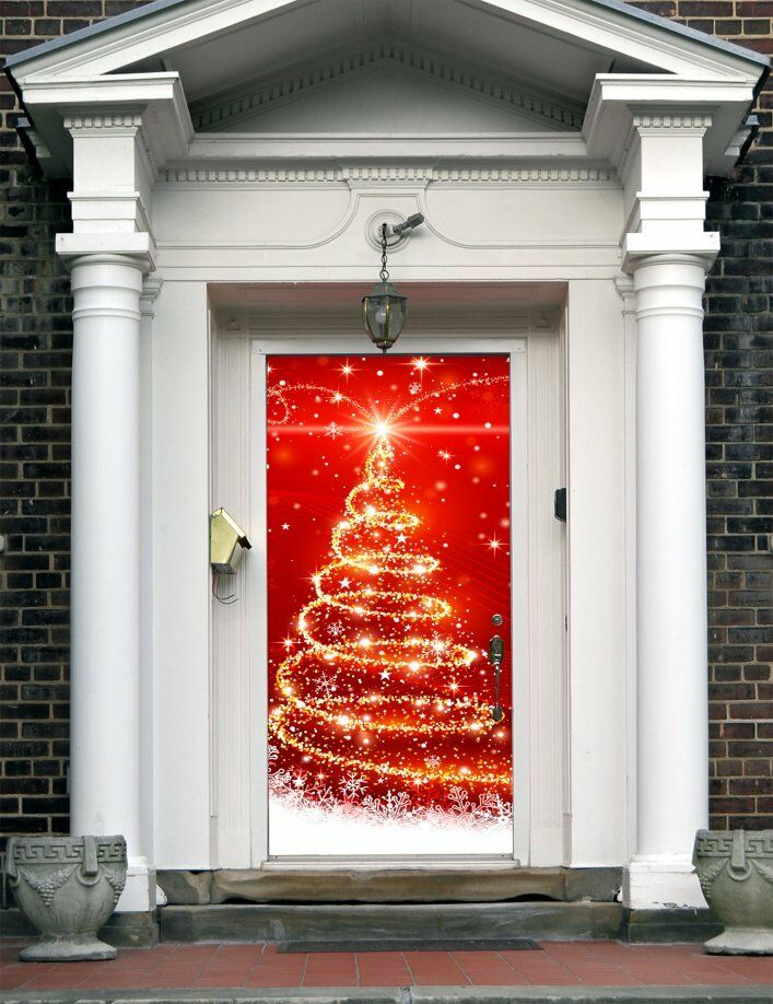 Christmas Front Door Cover Entry Holiday Doors Banner