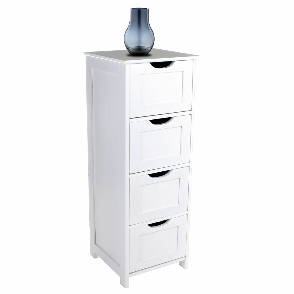 Bathroom drawers storage cabinet modern cupboard tall unit for Large white bathroom cabinet