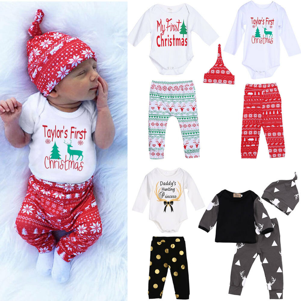 Cute Newborn Baby Boy Girls Christmas Clothes Romper Pants ...
