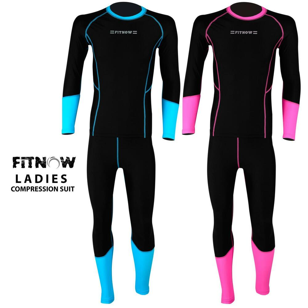 Details about Ladies Compression Thermal Base Layer Tights Shirt Under Suit  Long Pant b4494e19f200