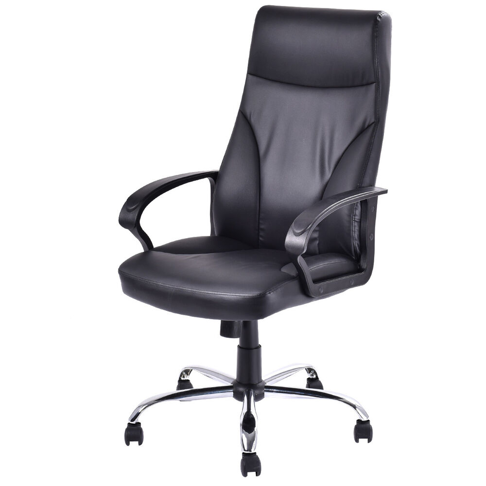Pu leather high back office chair executive computer desk for Modern executive office chairs