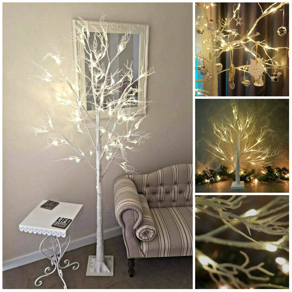 Luxurious Christmas Trees: LUXURY 2/6ft LARGE LIGHTUP WHITE CHRISTMAS TWIG TREE BIRCH