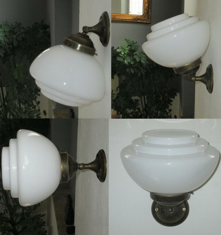 h ngelampe wandlampe deckenlampe art deco jugendstil bauhaus glas messing antik ebay. Black Bedroom Furniture Sets. Home Design Ideas