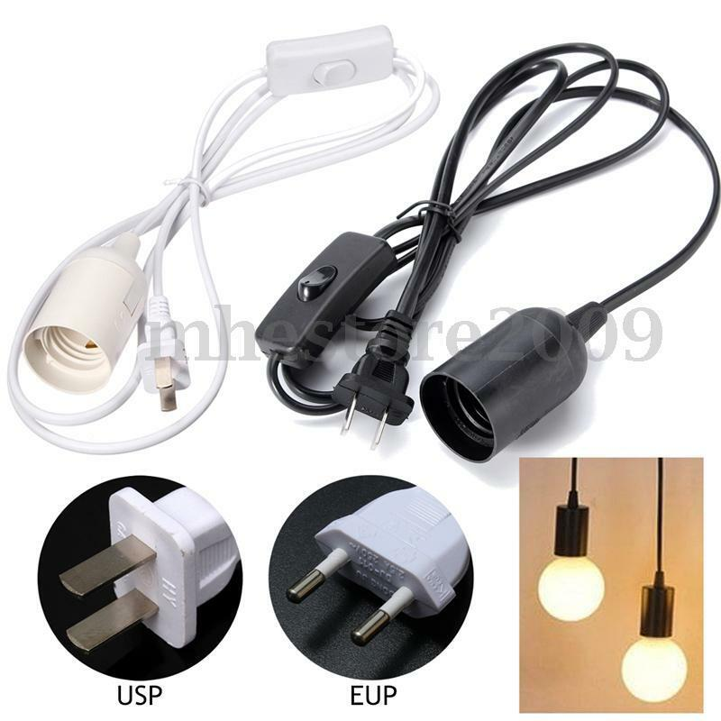 e27 e26 plug in hanging pendant light fixture lamp bulb socket cord with switch ebay. Black Bedroom Furniture Sets. Home Design Ideas