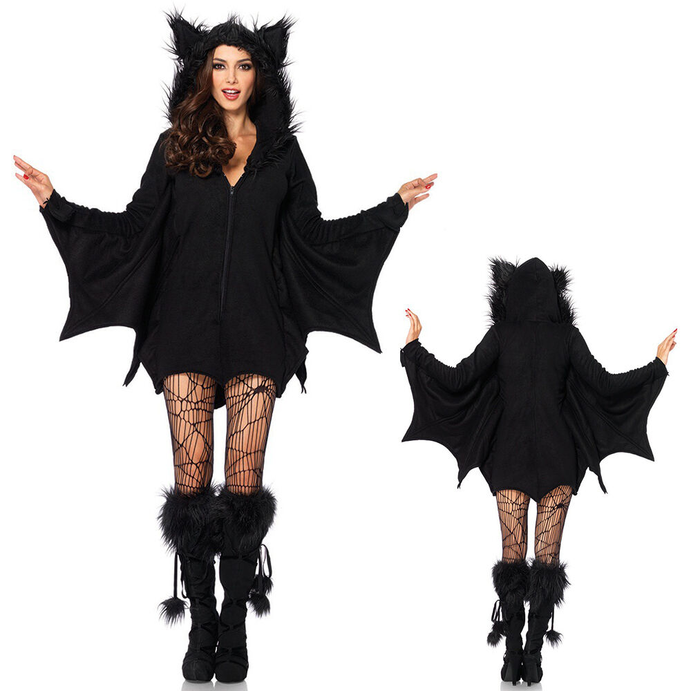 gothic freche fledermaus hoodie kleid halloween vampir damen kost m mit fl gel ebay. Black Bedroom Furniture Sets. Home Design Ideas