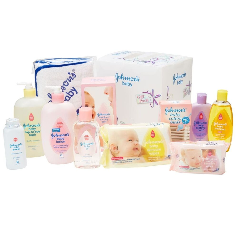 johnson 39 s baby shower gift pack kids shampoo oil toe bath powder wipes lotion ebay. Black Bedroom Furniture Sets. Home Design Ideas